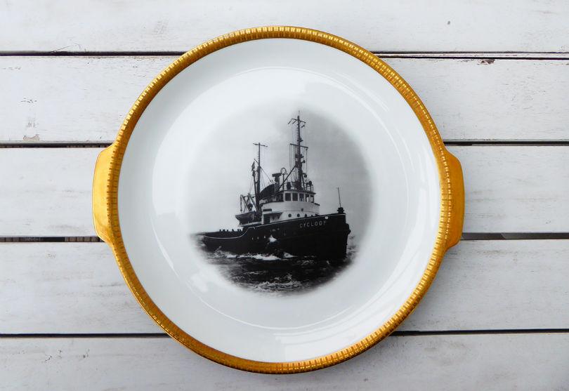 Wandteller platte dekoteller herr fuchs schiff gold unikat herr fuchs - Dekoteller gold ...